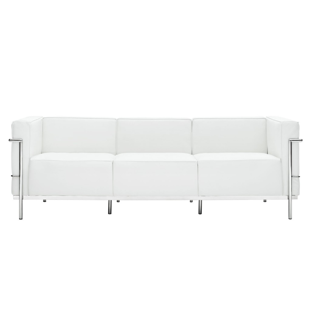 Simple Large Leather Sofa White