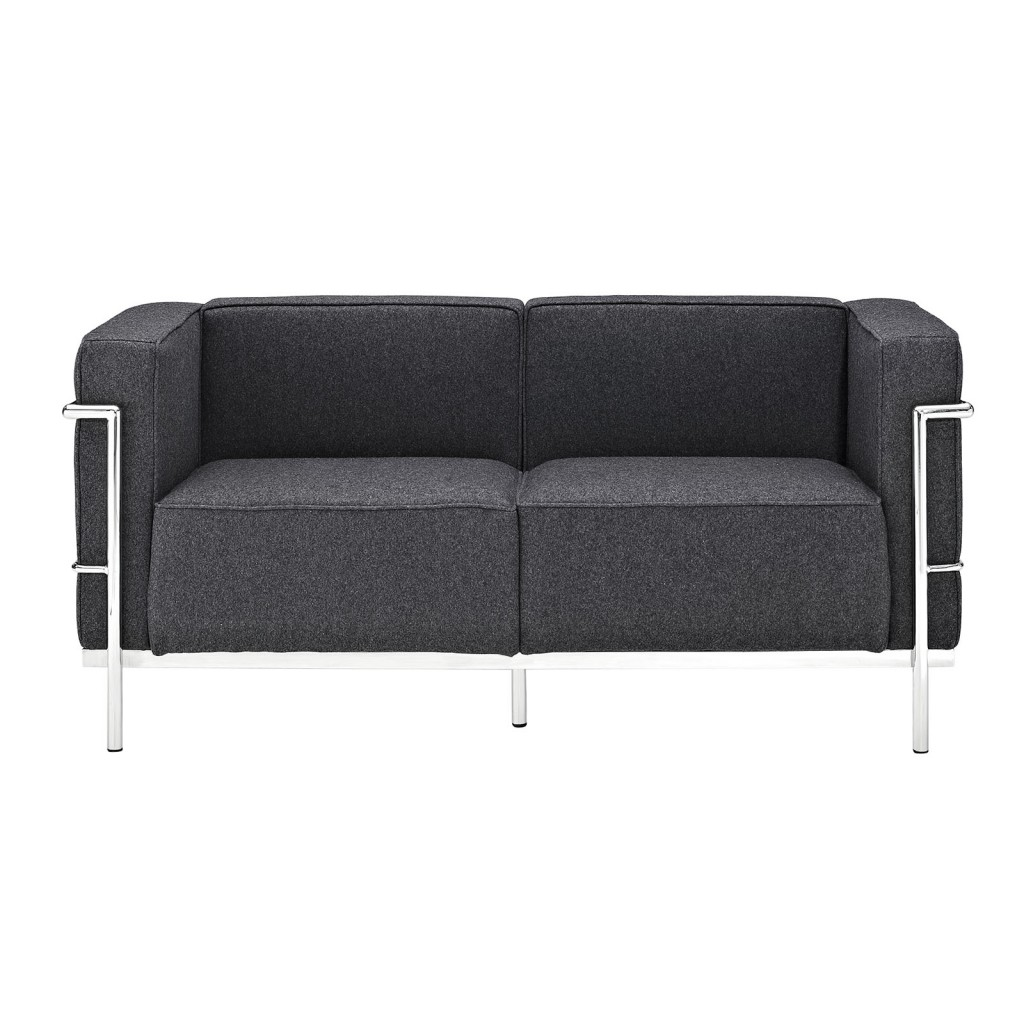 Simple Large Wool Loveseat Dark Gray 1