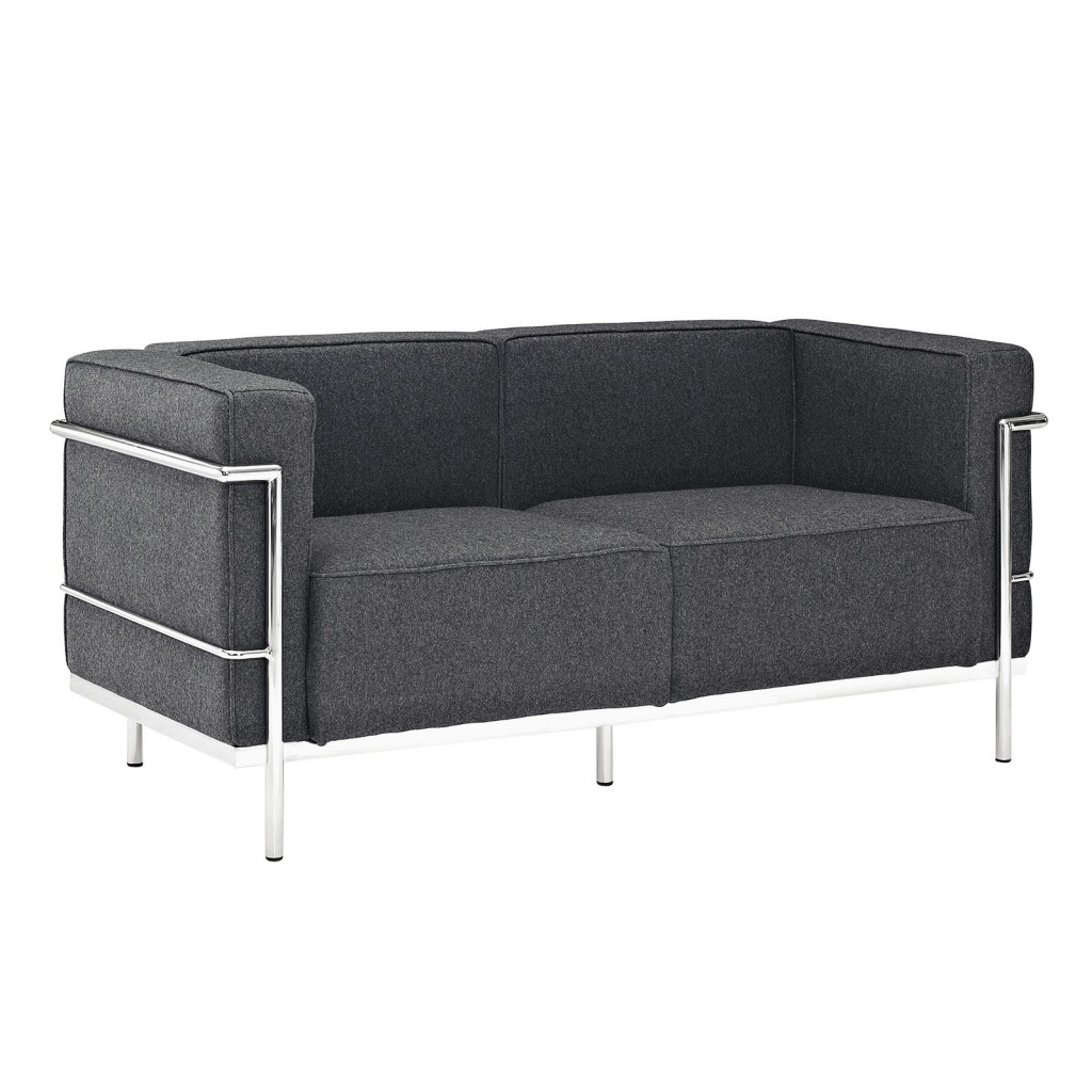Simple Large Wool Loveseat Dark Gray