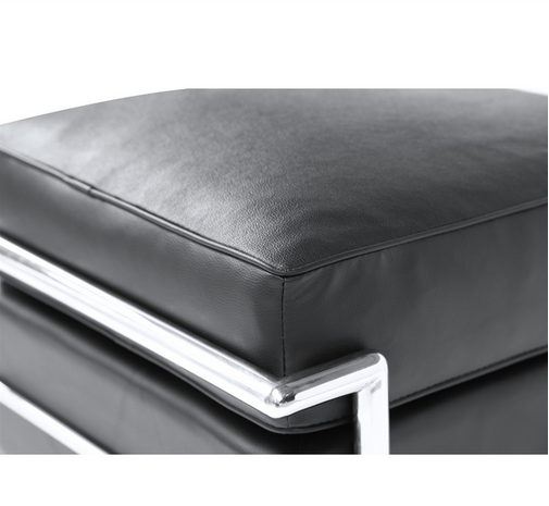 Simple Medium Leather Ottoman Black 4