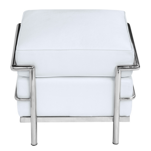 Simple Medium Leather Ottoman White 1