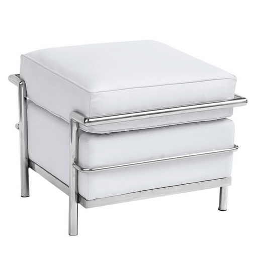 Simple Medium Leather Ottoman White 2