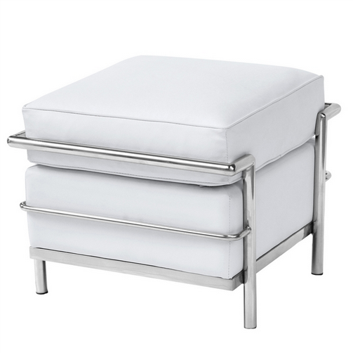 Simple Medium Leather Ottoman White