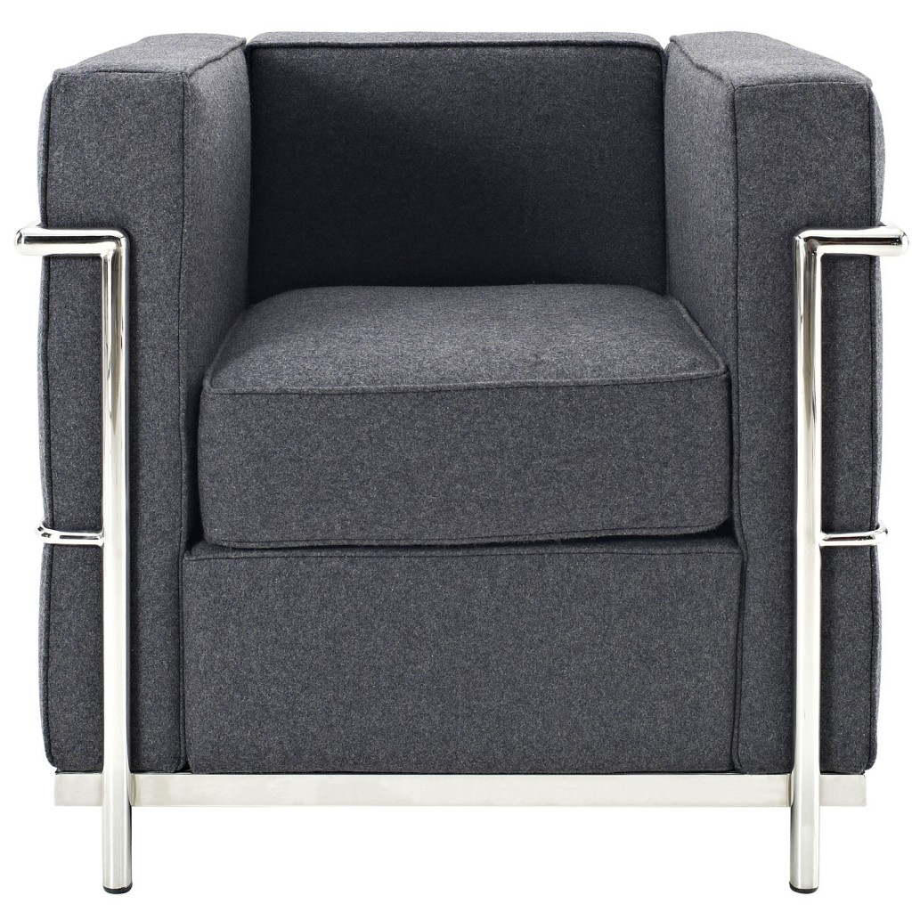 Simple Medium Wool Armchair Dark Gray 1