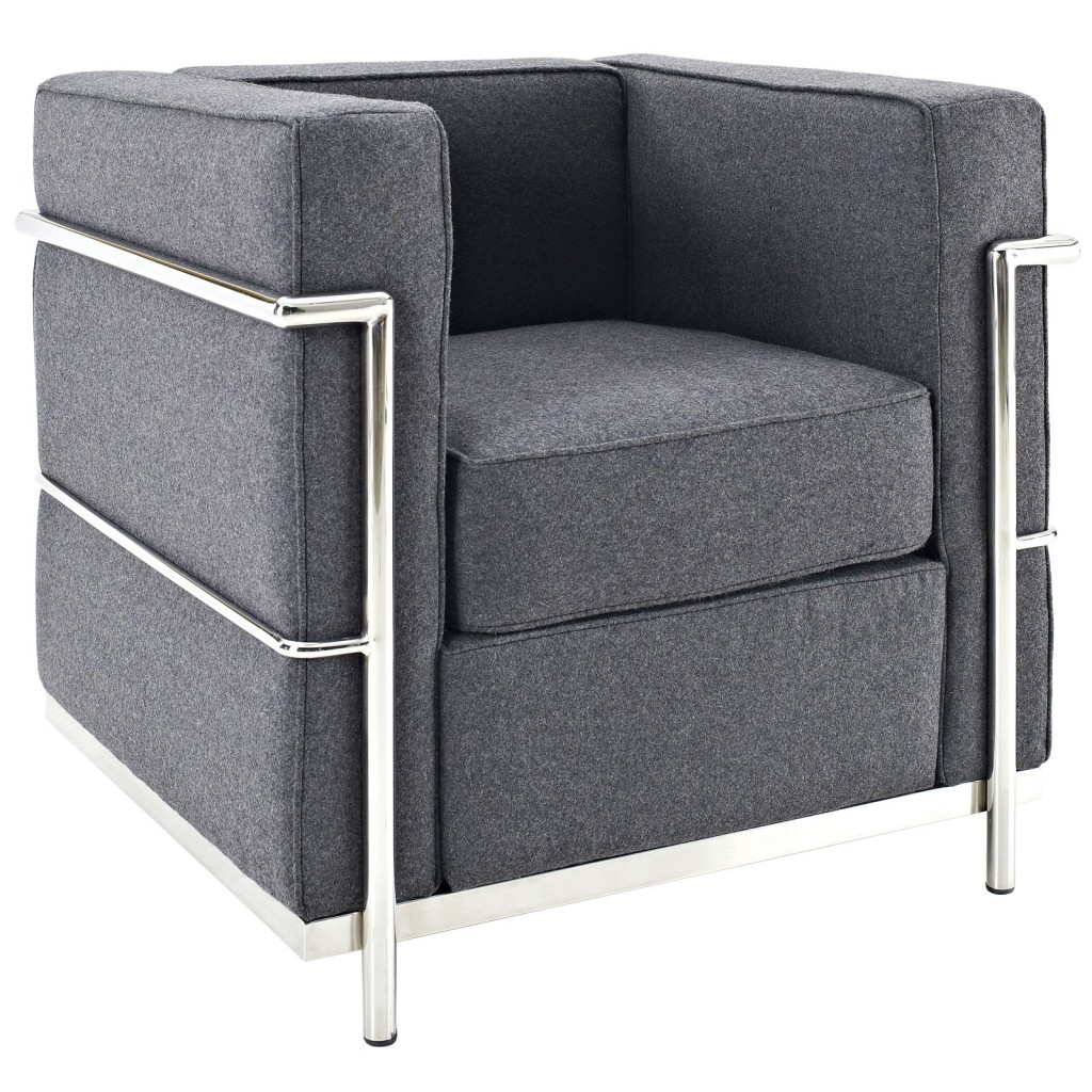 Simple Medium Wool Armchair Dark Gray