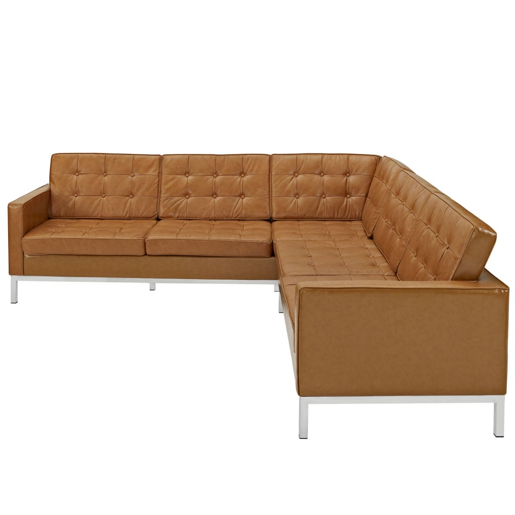Tan Bateman Leather L Shaped Sectional Sofa 2