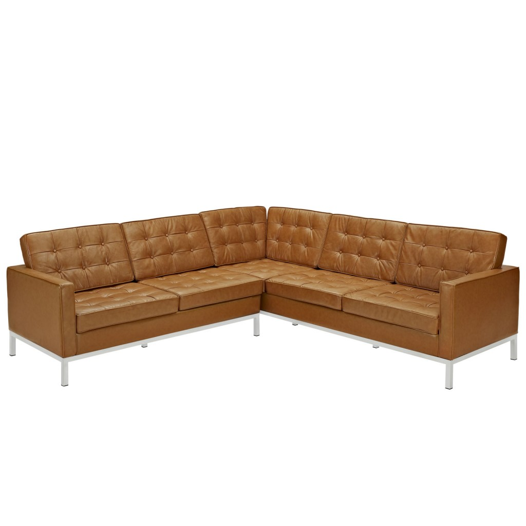 Tan Bateman Leather L Shaped Sectional Sofa