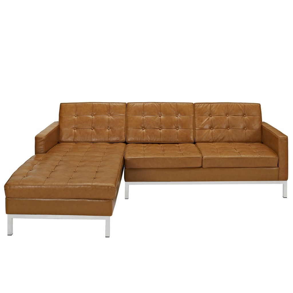 Tan Bateman Leather Left Arm Sectional Sofa 1