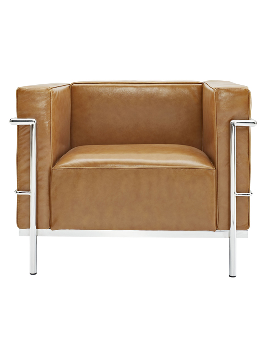 Tan Simple Large Leather Armchair