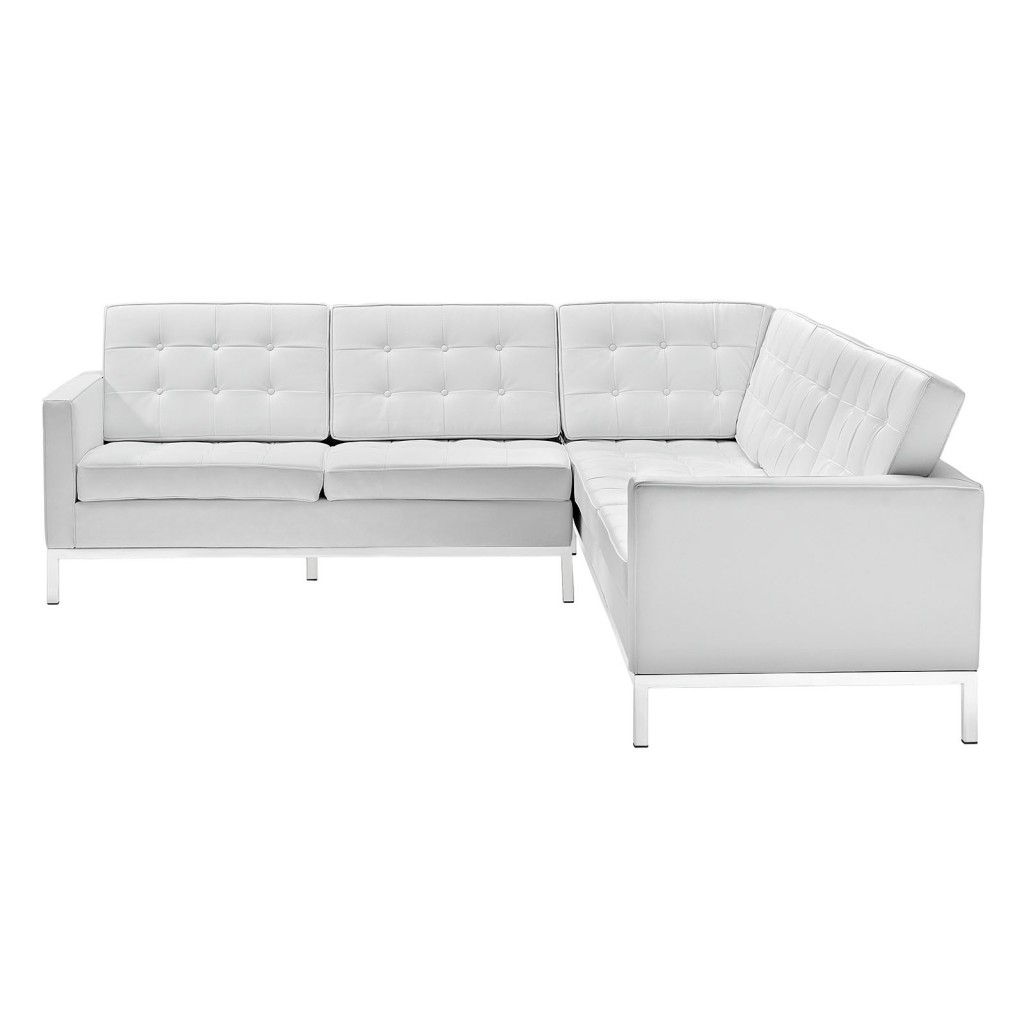 White Bateman Leather L Shaped Sectional Sofa 2