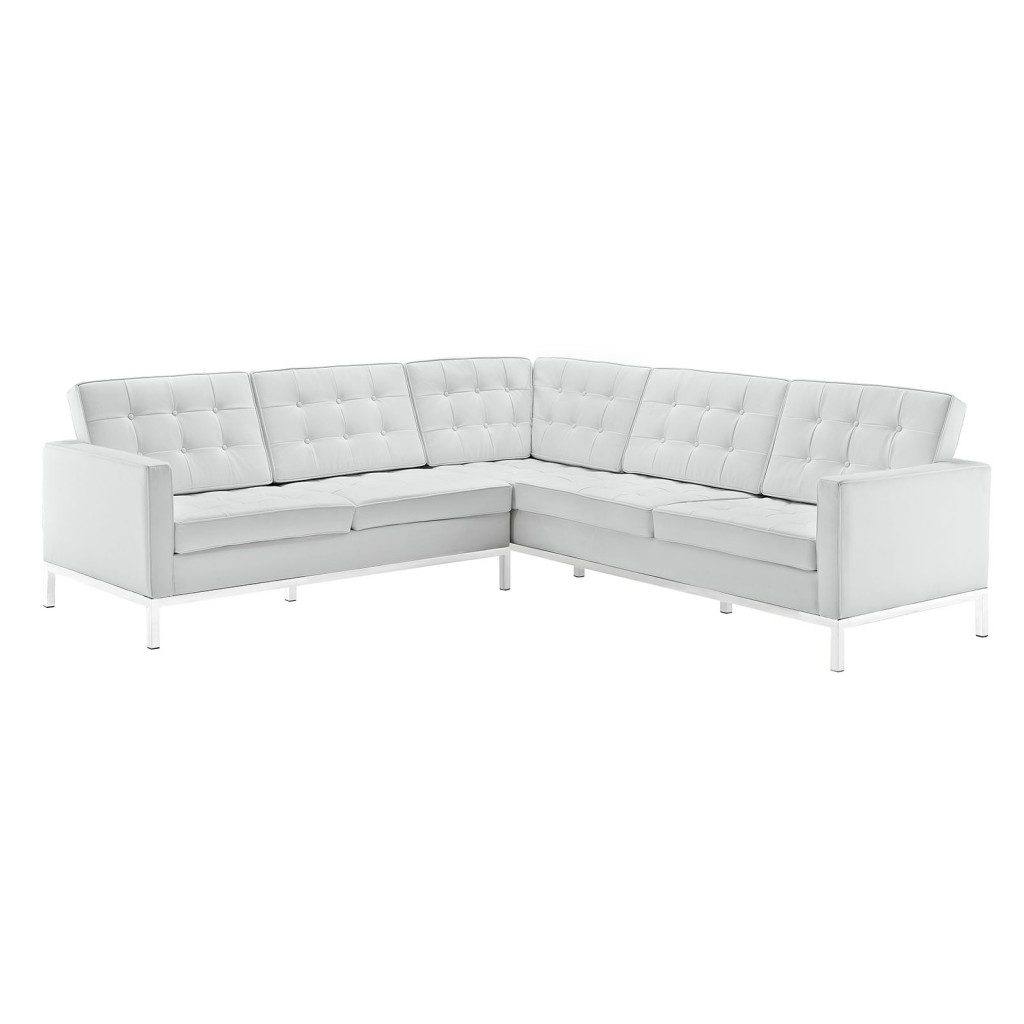 White Bateman Leather L Shaped Sectional Sofa