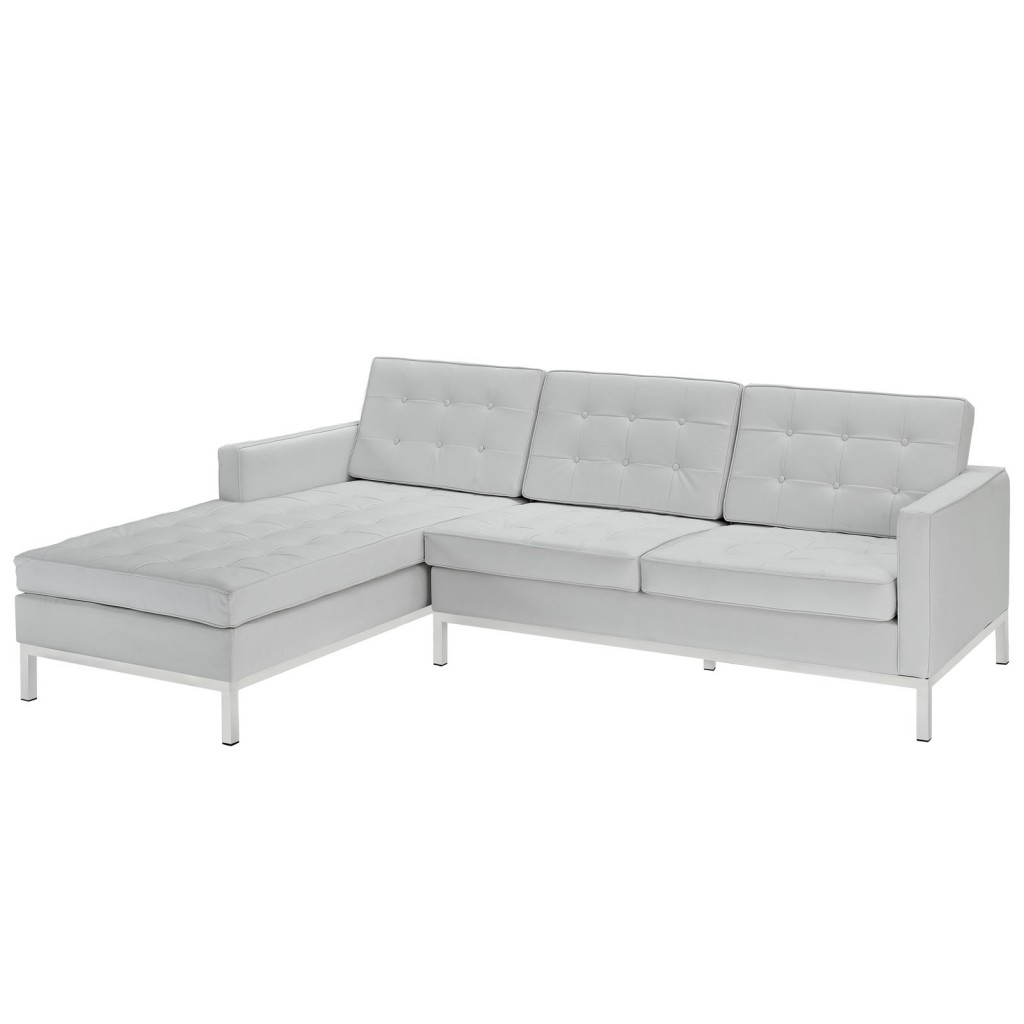 White Bateman Leather Left Arm Sectional Sofa
