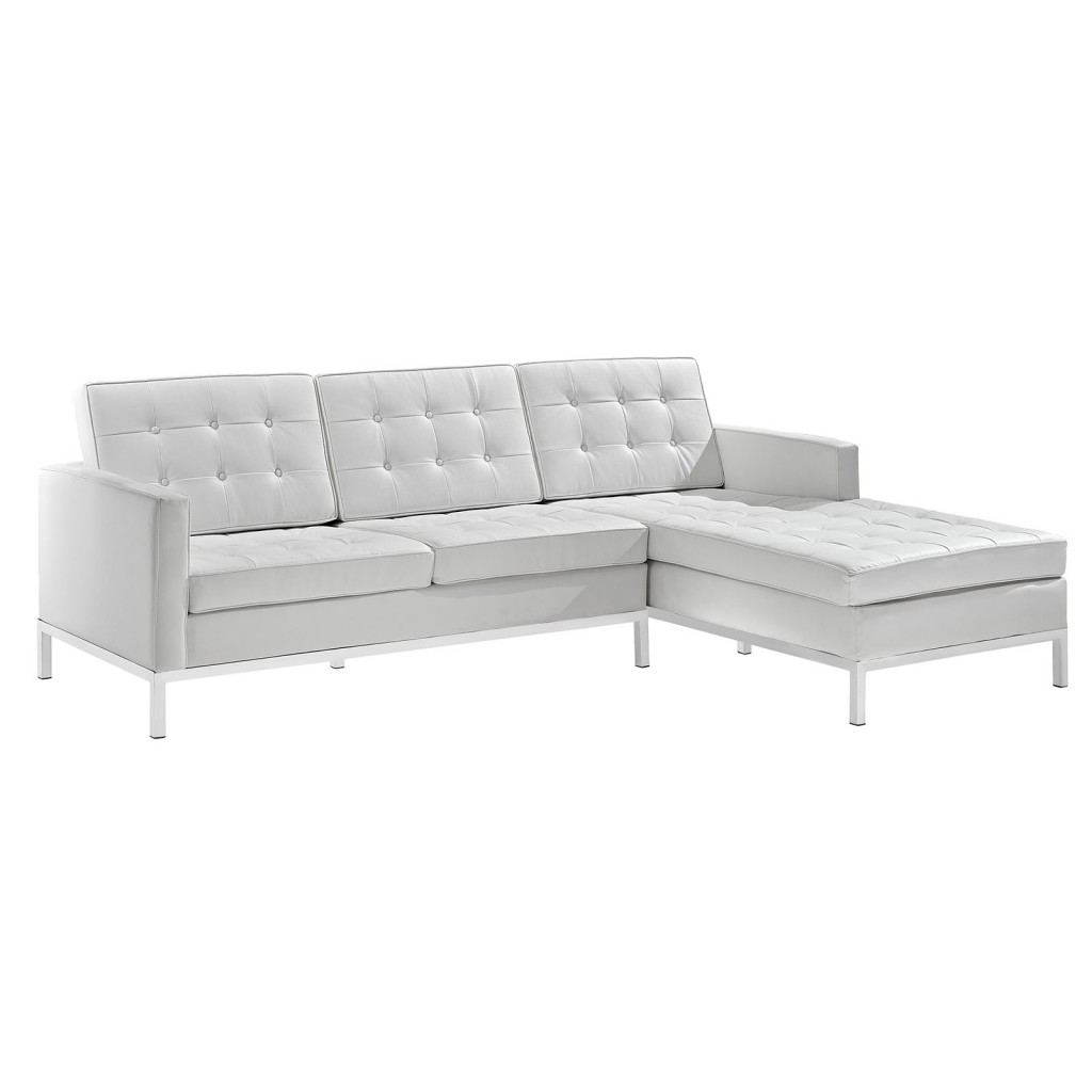 White Bateman Leather Right Arm Sectional Sofa