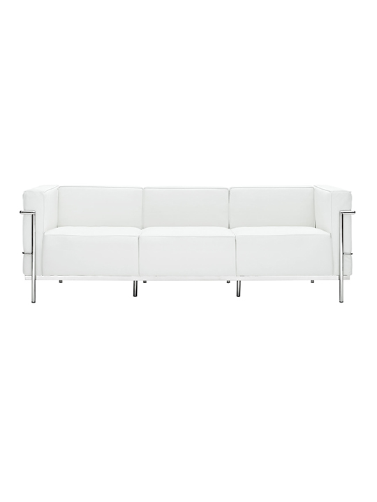 White Simple Large Leather Sofa