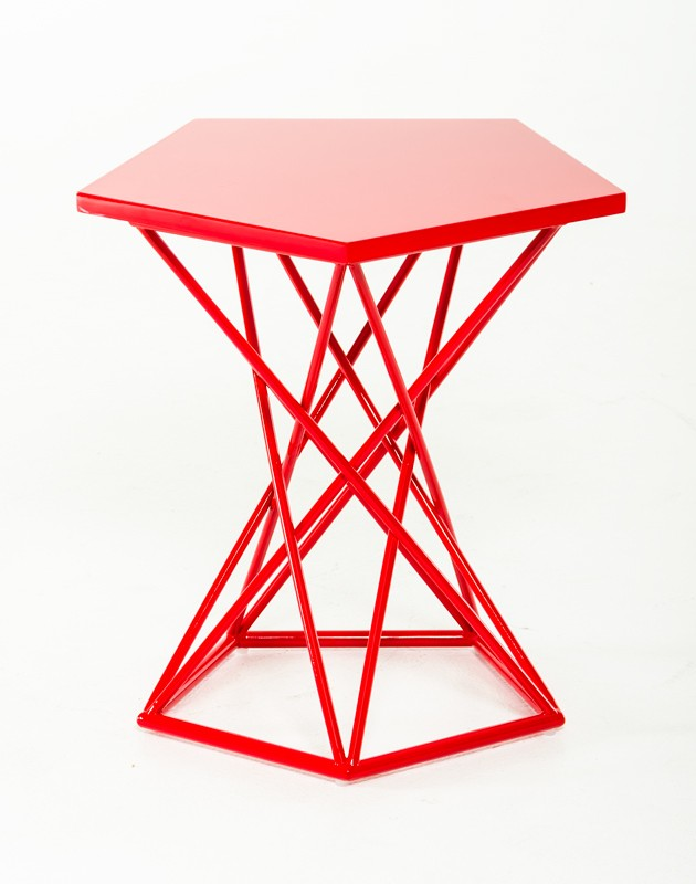 Demi Geometric Red Side Table 2