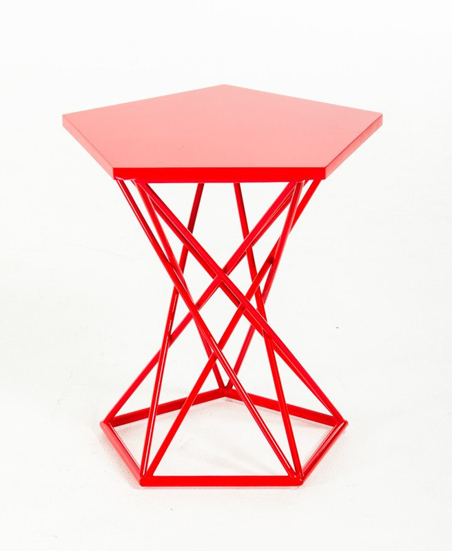 Demi Geometric Red Side Table 4