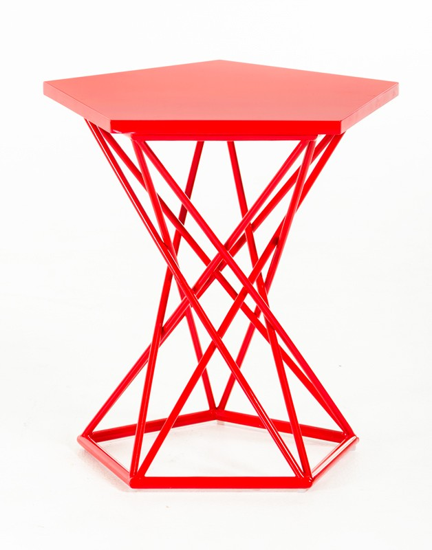 Demi Geometric Red Side Table