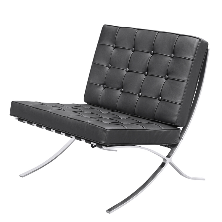 Black Leather Modernist Accent Chair