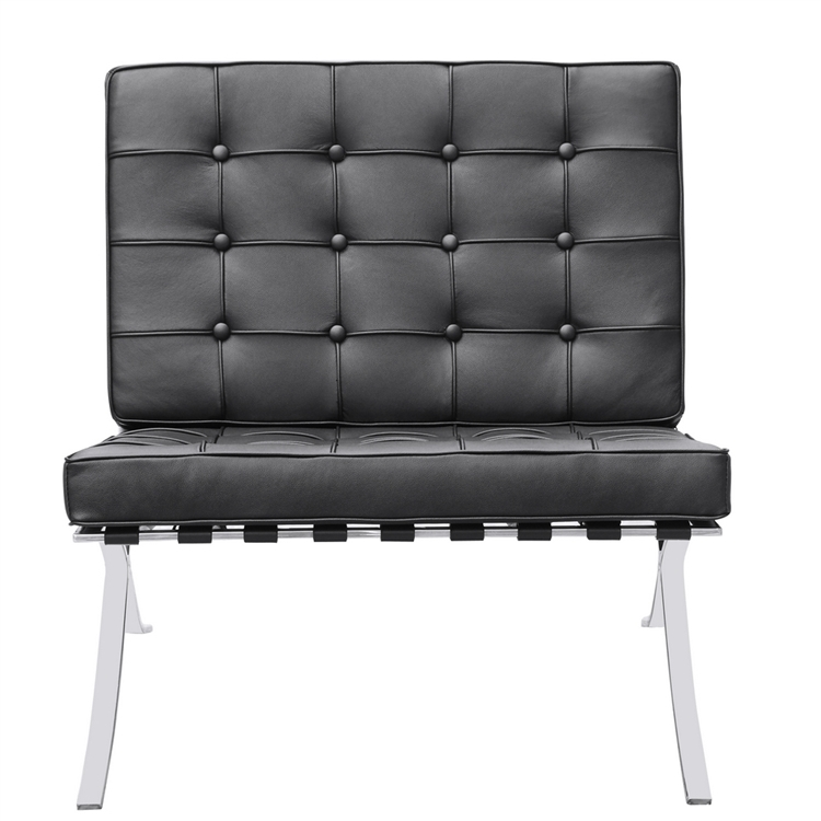 Modernist Accent Chair Black Italian Leather