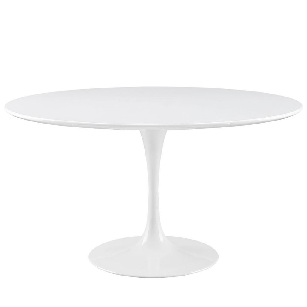 Brilliant White Tulip Table 54 Inch