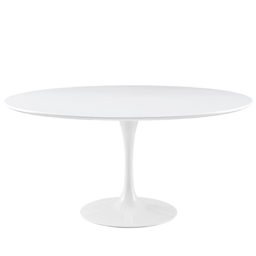 Brilliant White Tulip Table 60 Inch