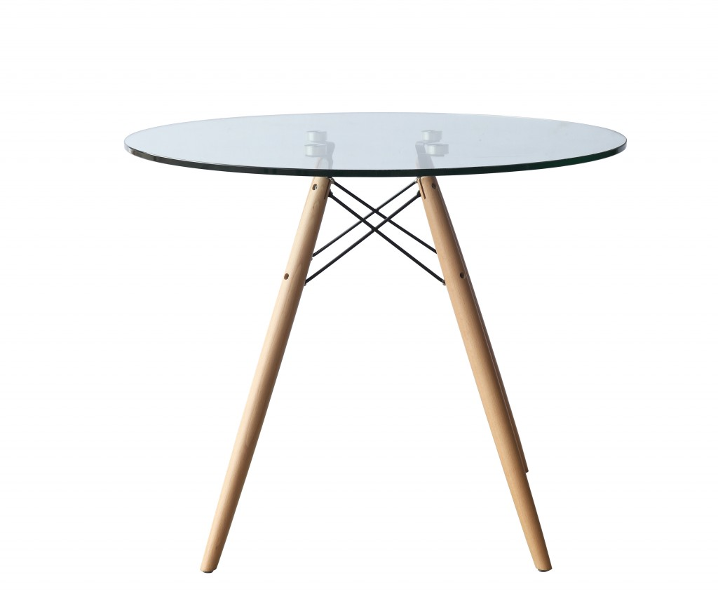 Glass Wood Wire 36 Inch Dining Table