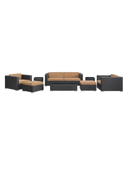 Light Brown Barcelona 8 Piece Outdoor Sofa Set