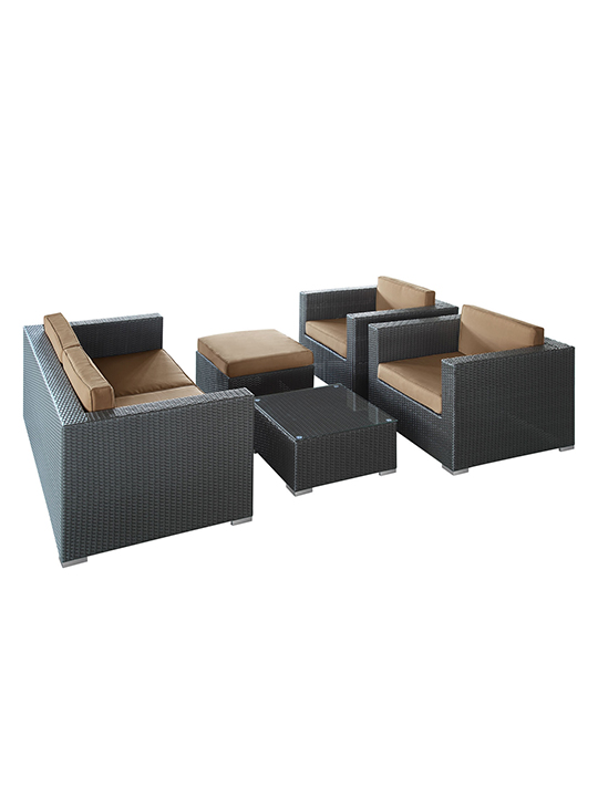 Light Brown Cushion Cayman Espresso 5 Piece Outdoor Set 11