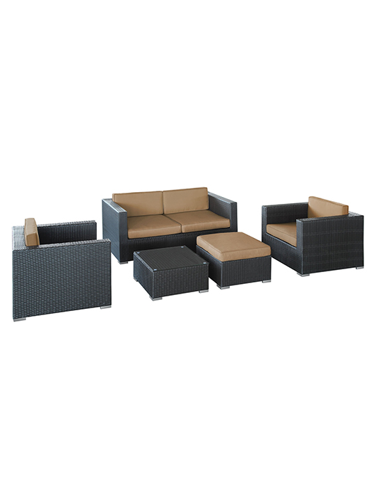 Light Brown Cushion Cayman Espresso 5 Piece Outdoor Set1