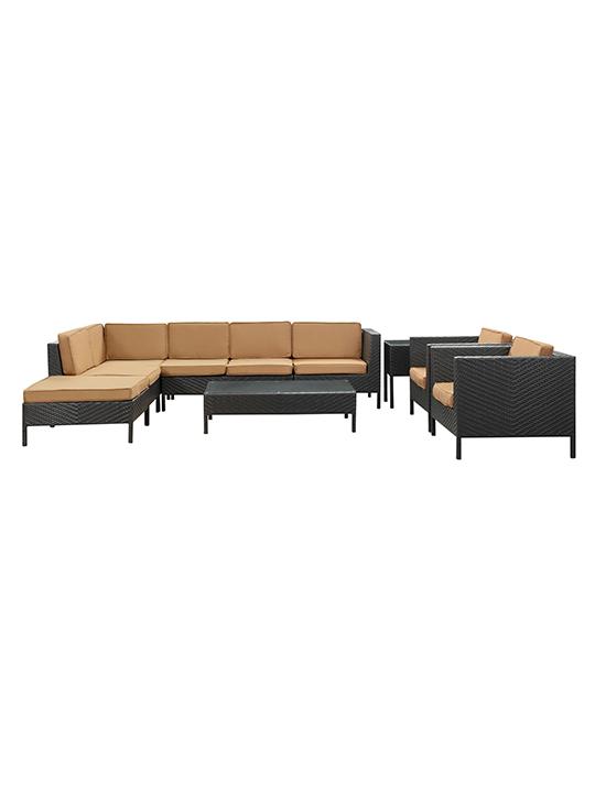 Light Brown South Hampton 9 Piece Outdoor Sofa Set