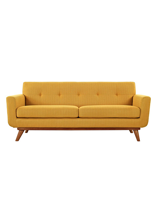 Mustard Yellow Pop Art Loveseat