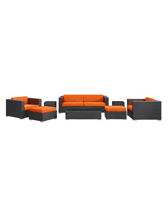 Orange Barcelona 8 Piece Outdoor Sofa Set