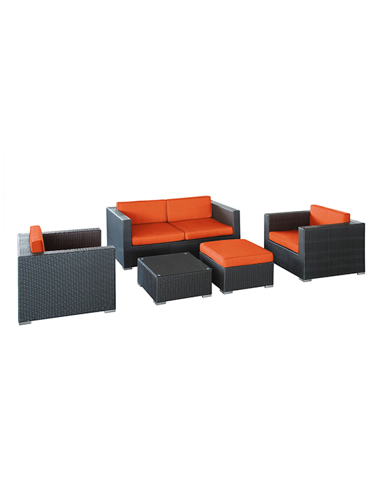 Orange Cushion Cayman Espresso 5 Piece Outdoor Set 11