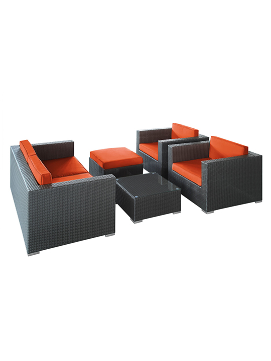 Orange Cushion Cayman Espresso 5 Piece Outdoor Set 2