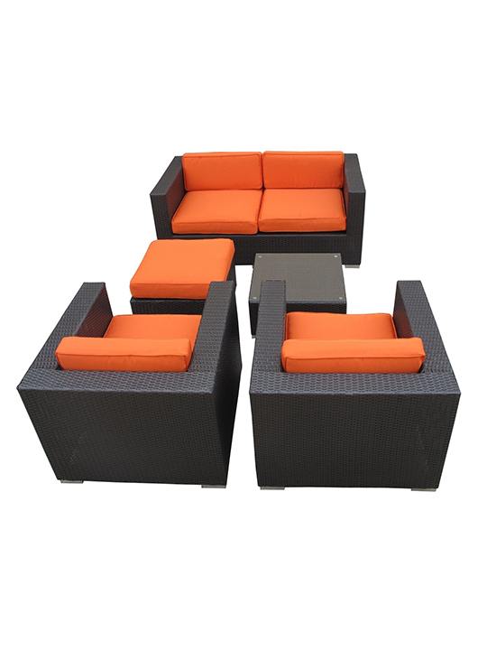 Orange Cushion Cayman Espresso 5 Piece Outdoor Set 3