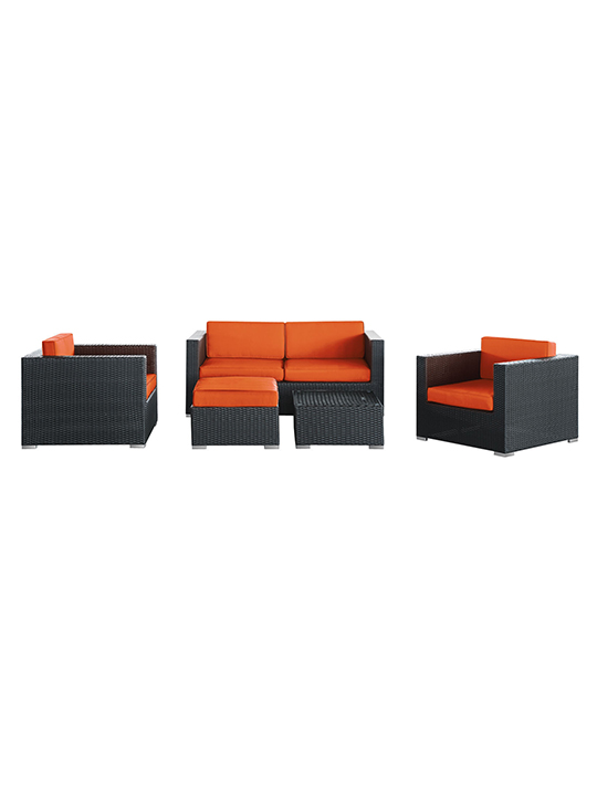 Orange Cushion Cayman Espresso 5 Piece Outdoor Set