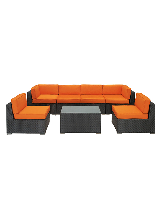 Orange Jamaica 7 Piece Outdoor Set