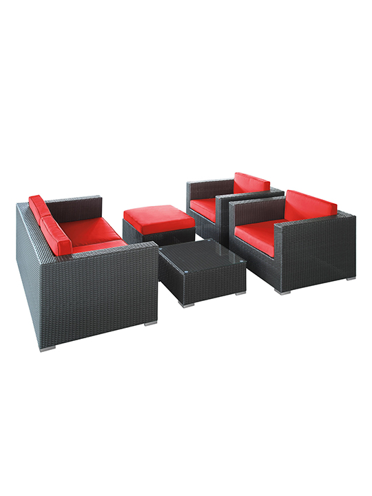 Red Cushion Cayman Espresso 5 Piece Outdoor Set 1