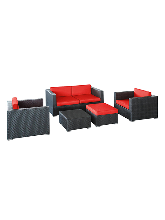 Red Cushion Cayman Espresso 5 Piece Outdoor Set 2