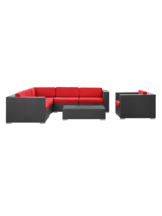 Red South Beach Espresso Outdoor Set