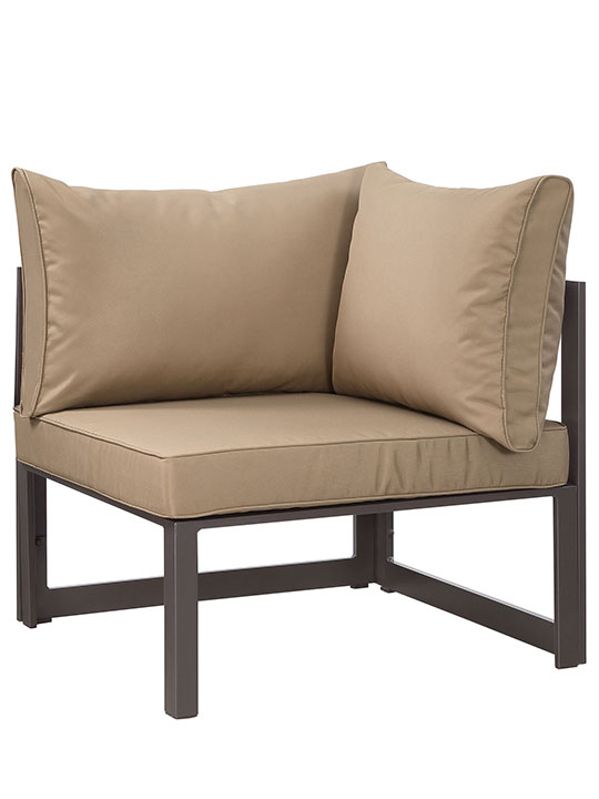 Star Island Outdoor Corner Chair Brown Light Brown Cushion 1