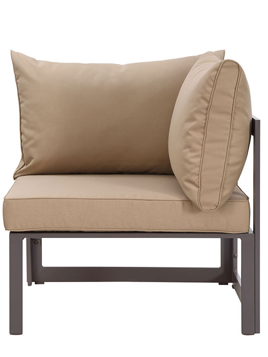 Star Island Outdoor Corner Chair Brown Light Brown Cushion