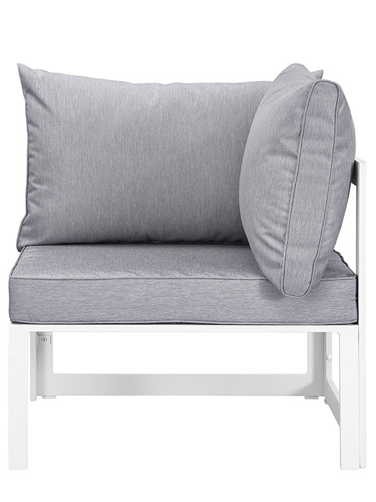 Star Island Outdoor Corner Chair White Gray Cushion