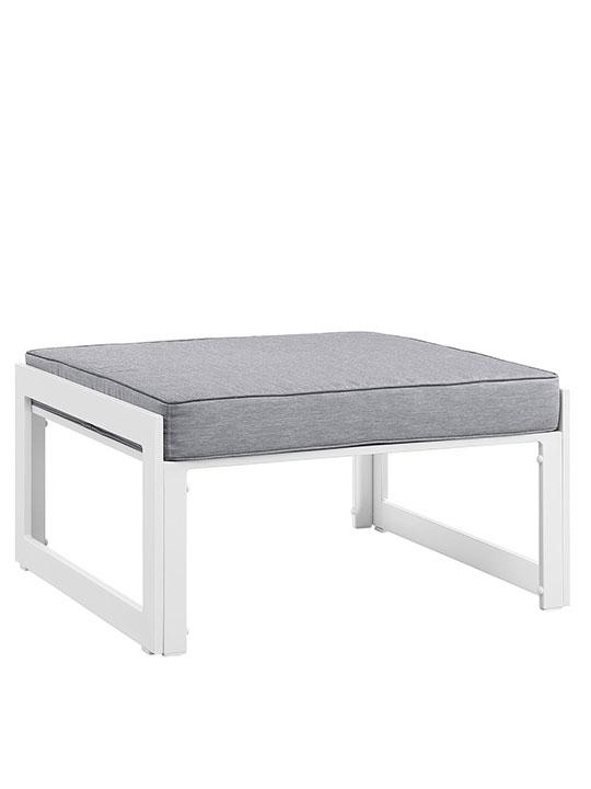Star Island Outdoor Ottoman White Gray Cushion 1