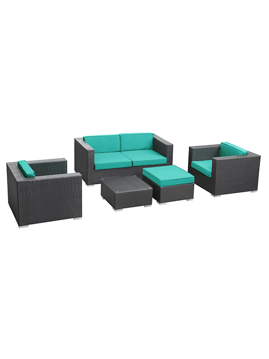 Turquoise Cushion Cayman Espresso 5 Piece Outdoor Set 11