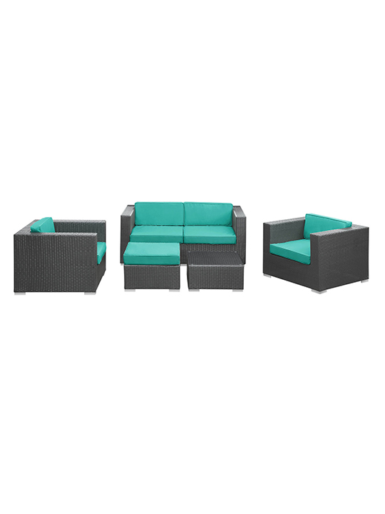 Turquoise Cushion Cayman Espresso 5 Piece Outdoor Set1