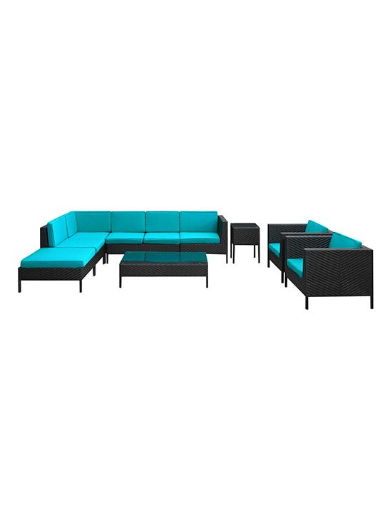 Turquoise South Hampton 9 Piece Outdoor Sofa Set