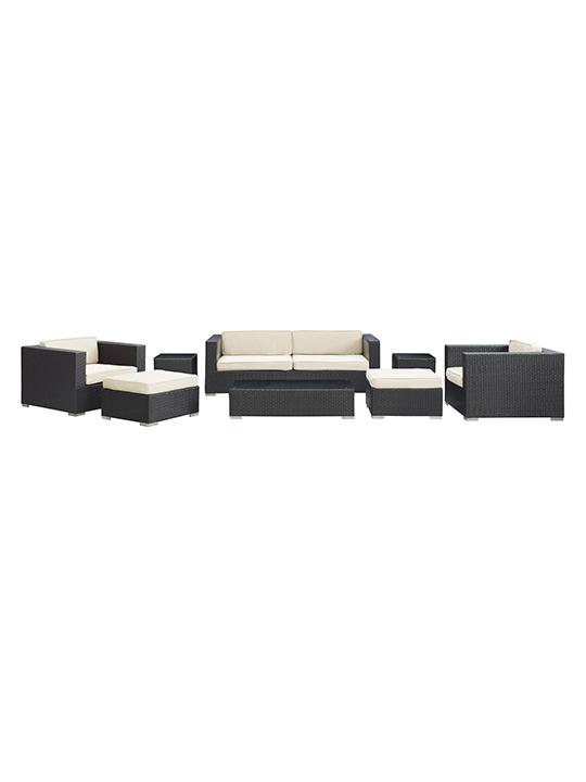 White Barcelona 8 Piece Outdoor Sofa Set