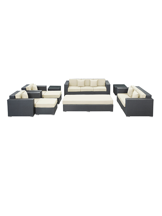 White Beverly Hills 9 Piece Outdoor Sofa Set