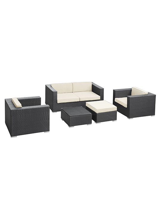 White Cushion Cayman Espresso 5 Piece Outdoor Set 11